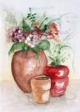 Pots en céramique rouges Photographie stock