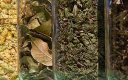 Pots en verre avec des herbes pour la cuisson Photos libres de droits