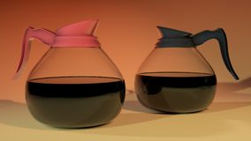 Pots en verre de café Photo libre de droits