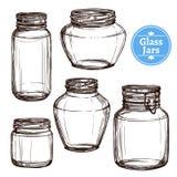 Pots en verre réglés Photographie stock libre de droits
