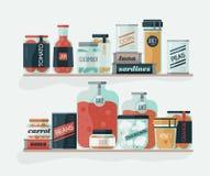 Pots et boîtes en verre avec les légumes marinés sur des étagères Nourriture en boîte délicieuse, nutrition organique, conserves  illustration de vecteur