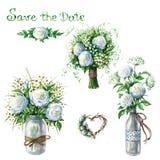 Pots et bouquets de mariage dans le style rustique Photographie stock