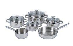 Pots et casseroles d'acier inoxydable Photos libres de droits