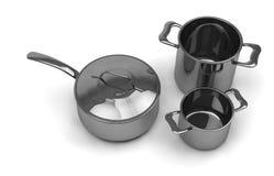 Pots et casseroles en acier Image stock