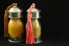 Pots exotiques d'épice Photos libres de droits