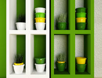 Pots with the grass on the shelves Stock Images
