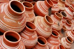 Pots of India. Amphora, arabic, art, artistry, asia, background, brown, life, market, texture, tradition, vase, village stock images