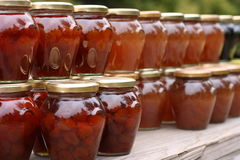 Pots of jam. On the outdoors market Royalty Free Stock Photography