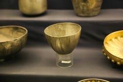 Pots - King Tutankhamen treasure, Egyptian museum. Cairo, Egypt Jan. 2018 Ancient gold pieces of King Tutankhamen treasure Egyptian museum Stock Photo