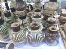 Pots made from bamboo Royalty Free Stock Image