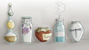 Pots magiques étranges de cuisine - tiré par la main numérique Image stock