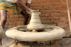 Pots Making. Indian Potter is Making pots stock images