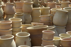 Pots on a middle east market Stock Photos