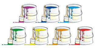 Pots of paint. Isolated on white background Stock Photos