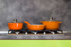 Pots and pan on the stove Royalty Free Stock Images
