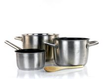 Pots and Pans. Isolated against a white background stock photos
