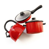 Pots and pans. Pots pans kettle plastic toys royalty free stock image