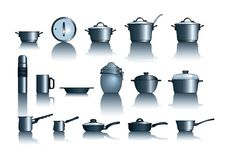 Pots&pans. Vector illustration of kitchen pots and pans Royalty Free Stock Photo