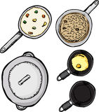 Pots and Pans. Top-view of pots and pans with food isolated over white Stock Photo