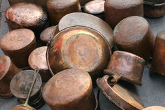Pots and pans. Old copper pots and pans royalty free stock photography