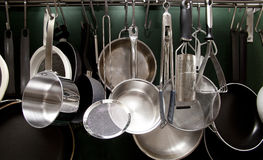 Pots and pans. Aluminum tools Royalty Free Stock Photography