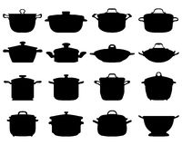 Pots and pans. Black silhouettes of pots and pans Royalty Free Stock Image