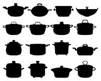 Pots and pans. Black silhouettes of different pots and pans Royalty Free Stock Images