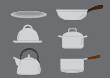 Pots and Pans Kitchen Utensil Vector Icon Set Royalty Free Stock Image