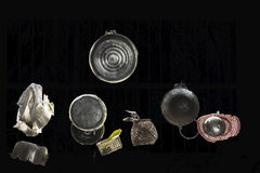 Pots and pans. A photo of pots, pans and various kitchen items Stock Photos