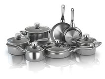 Pots and pans. Set of cooking stainless steel kitchen utensils a stock illustration