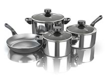 Pots and pans. Set of cooking stainless steel kitchen utensils a Stock Photos