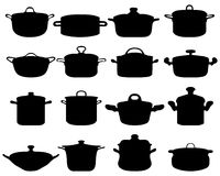 Pots and pans. Silhouettes of pots and pans Stock Photos