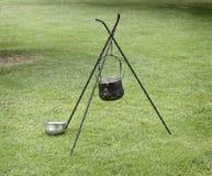 Pots picnic. Picnic pots, ancient cooking tool Stock Photos