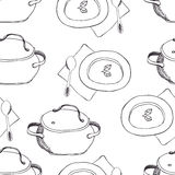 Pots and plates background Stock Images