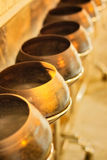 Pots in Reclining Buddha Temple Royalty Free Stock Images