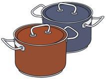 Pots rouges et bleus Photo libre de droits