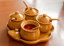 Pots with spices Royalty Free Stock Photos