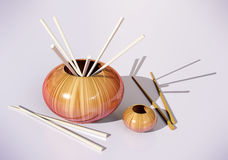 Pots with sticks 3d model Royalty Free Stock Images