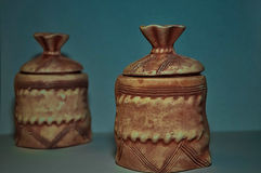 Pots. Tableware,vessels,two bags, ceramics, blue background,macro-object,house Stock Photo