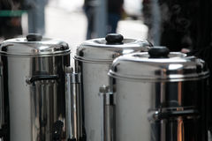 Pots to cook food and boil. Industrial pots to cook food and boil royalty free stock photos