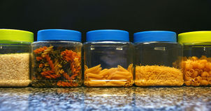 Pots of varied pasta Stock Image