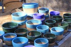 Pots verts et bleus Photo stock