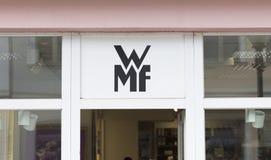 Potsdam, Berlin, Europa: 20th 2018 Sierpień: WMF sklepu logo zdjęcia stock