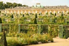Sanssouci palace. AT POTSDAM - BRANDENBURG - GERMANY - ON 08/29/2013 - Sanssouci palace, surrounded by its wonderful park in summer royalty free stock photography
