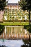 Sanssouci palace. AT POTSDAM - BRANDENBURG - GERMANY - ON 08/29/2013 - Sanssouci palace, surrounded by its wonderful park in summer stock image