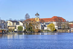 Potsdam is a city on the water, River Havel. View to Potsdam (Germany) on a sunny day in springtime at the riverside of the River Havel. Potsdam is a city on the Stock Photo