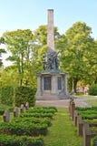 Potsdam, Germania Un monumento al è morto soldati sovietici al cimitero commemorativo Basseyn-plats il quadrato fotografie stock libere da diritti