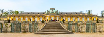 Architecture of Potsdam, Germany. POTSDAM, GERMANY - APR 30, 2015: Part of the Sanssouci Palace, the former summer palace of Frederick the Great, King of Prussia stock images