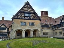 Potsdam / Germany - March 24 2018: The courtyard of the palace Cecilienhof. Flowerbed in the form of a five-pointed star and a royalty free stock photos