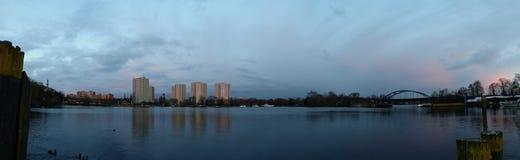 Potsdam havelbucht. Havelbucht potsdam wasser wolken hochhäuser panorama Stock Images